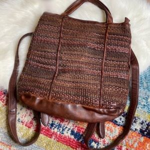Free People NEW Yuma Woven Wool Leather Backpack